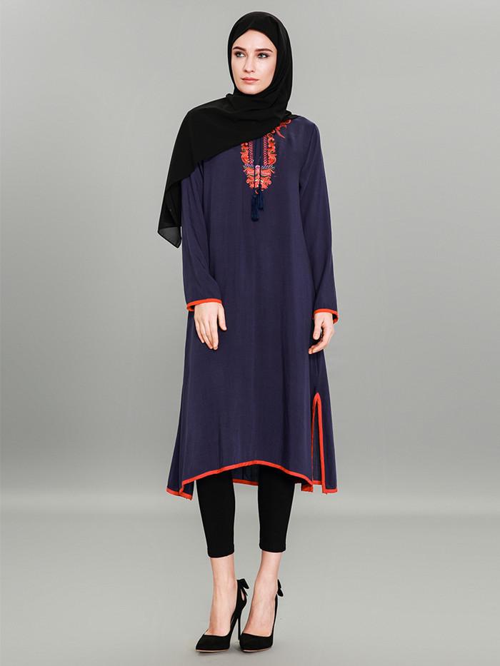 Muslim Women Embroidery Dress Islamic Abaya Kaftan Dubai Maxi Robe ...