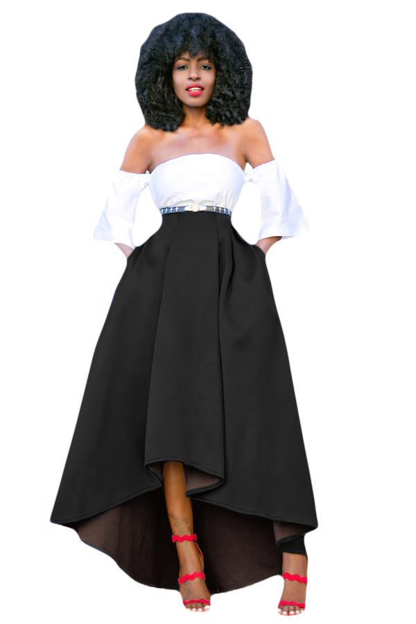 African Women Asymmetric High Low Hem Evening Maxi Prom Skirt Dress