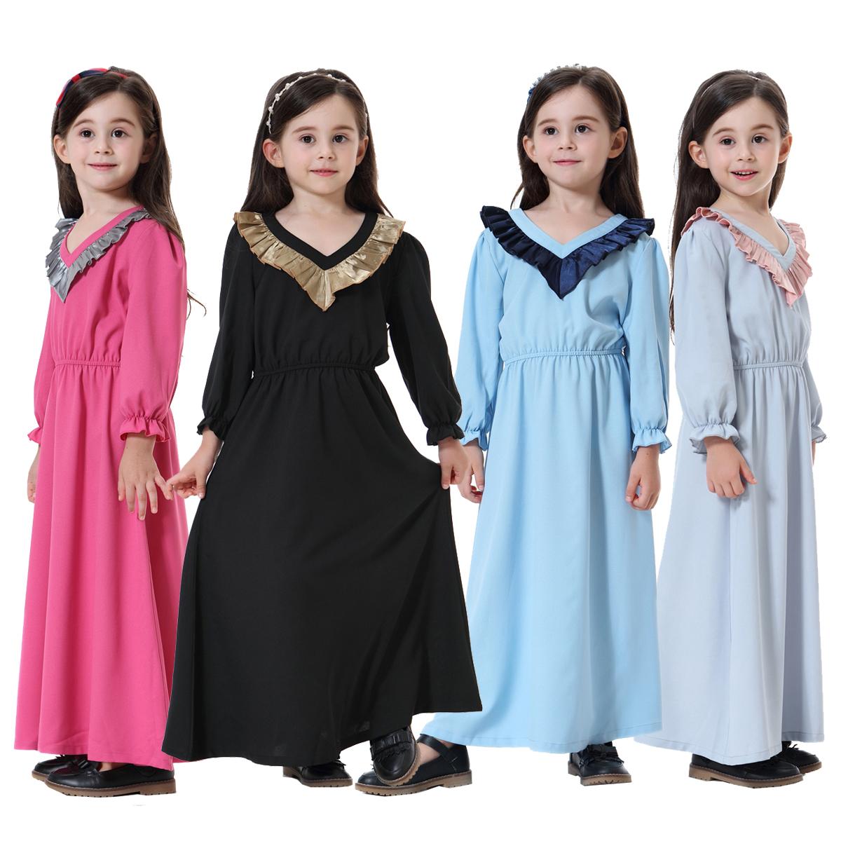 47da7300f Muslim Kids Girl Maxi Dress Long Sleeve Abaya Saudi Arab Islamic ...