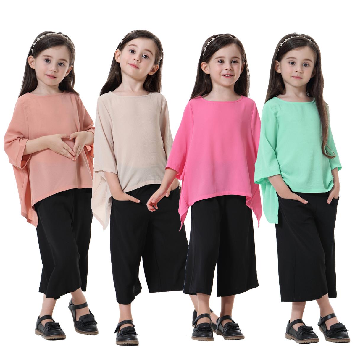 6591b9da40bb Set Kids Girls Summer Clothes Top+wide-leg Pant Muslim Islamic Abaya ...