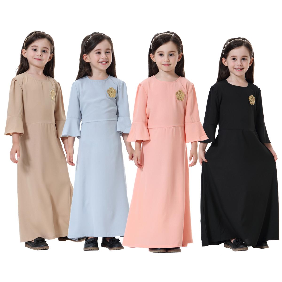 a72d7ac8024c Kids Girls Baby Beach Muslim Summer Solid Party Long Sleeve Dress ...