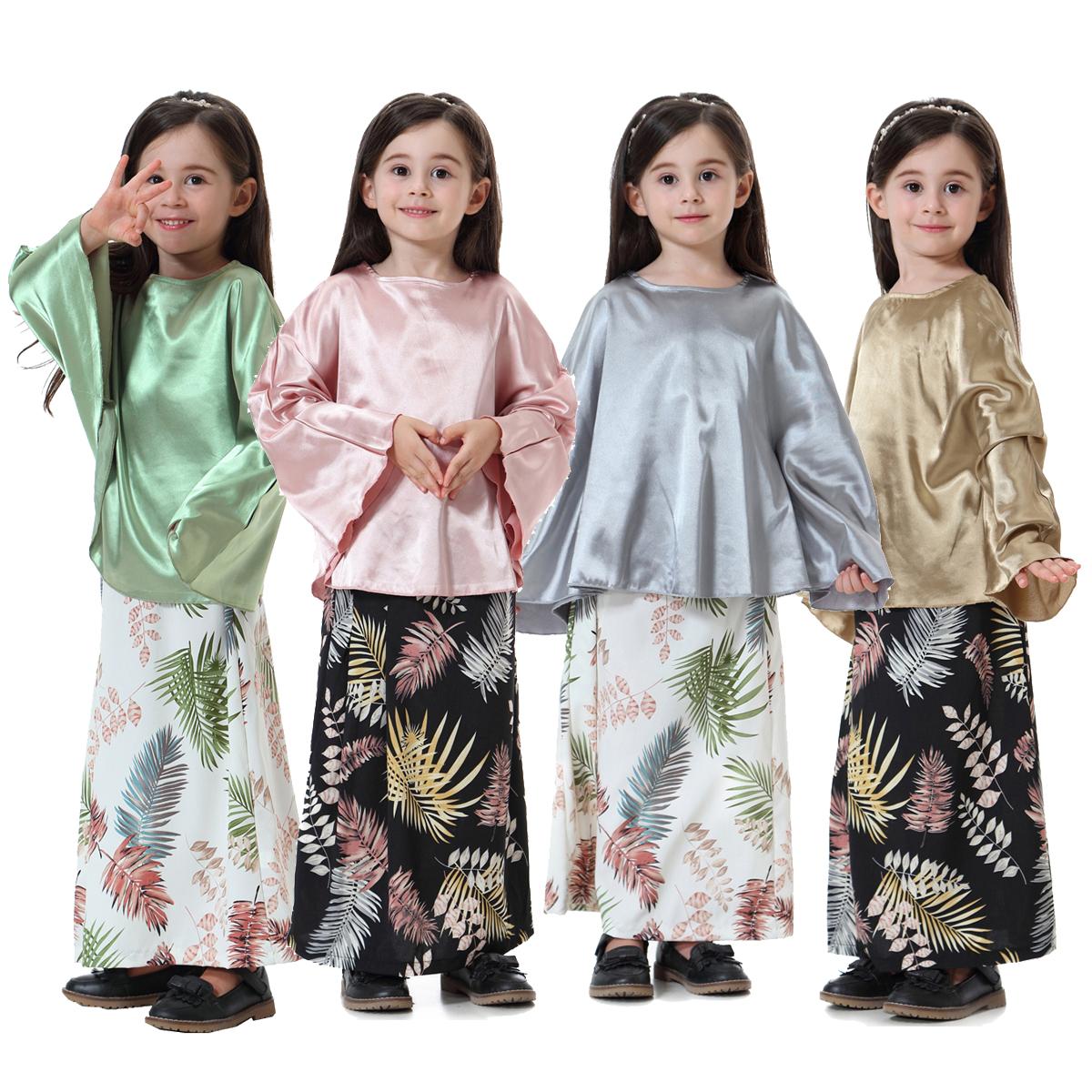 9f405e620b38 2pcs Girls Muslim Maxi Dress for Kids Abaya Islamic Kaftan Long Gown ...