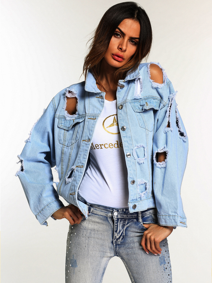 db9da7c7ce8 Details about Fashion Women Long Sleeve Ripped Hole Coat Denim Loose Short  Jean Jacket Outwear