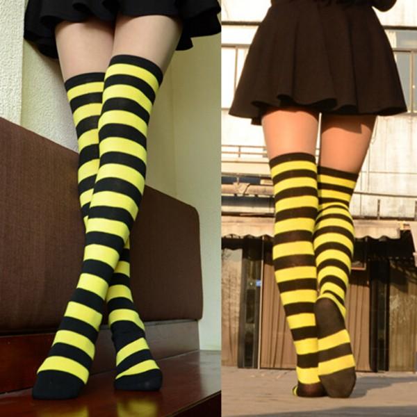 a0f19120c Women Over Knee Socks Plain Striped High Thigh School Long Stripey ...