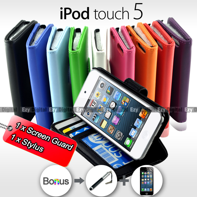 various colors 9cbc2 91202 NEW Premium Leather Stand Wallet Flip Case Cover For iPod Touch 5 ...