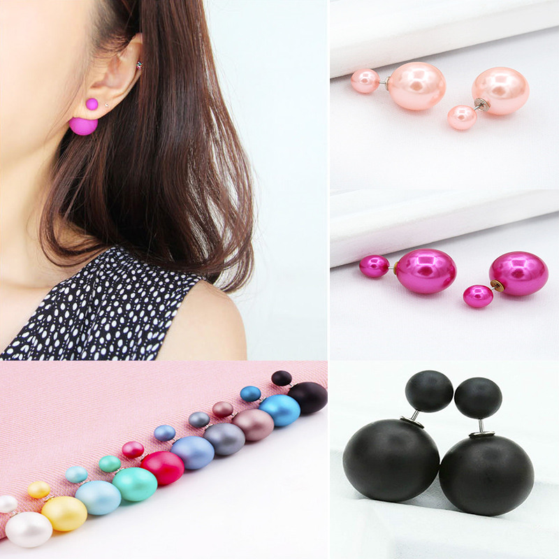 mode boucle d 39 oreilles double perles clou puce earring studs boule femme bijoux ebay. Black Bedroom Furniture Sets. Home Design Ideas