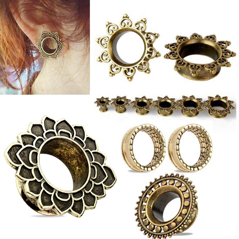 paire tribale antique bronze cuivre piercing oreille floral plug tunnel ecarteur ebay. Black Bedroom Furniture Sets. Home Design Ideas