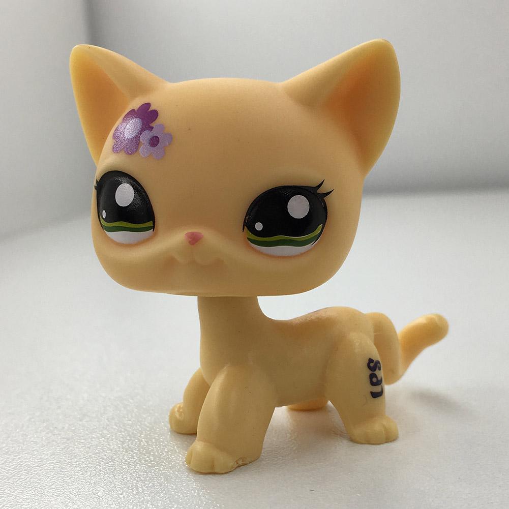 Purple Flower Beige Short Hair Cat Littlest Pet Shop LPS