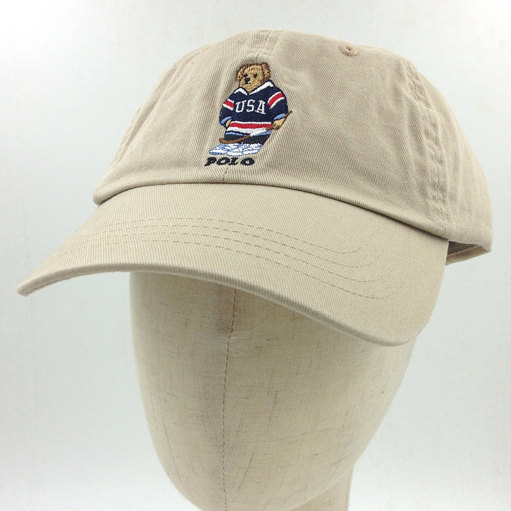 Details about Men s Polo Embroidery Sweater Bear Hat Khaki Baseball Soccer  Vintage Cap 8287bf71005