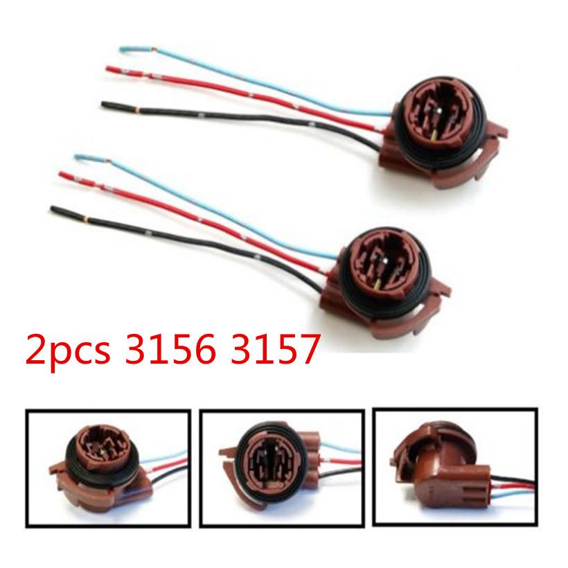 2pcs 3157 4157 Brake Turn Signal Light Bulb Socket Harness