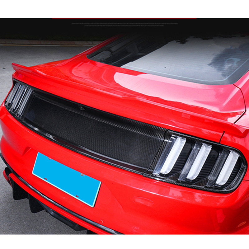 For Ford Mustang 2015 2016 Black Gloss Carbon Fiber Tail