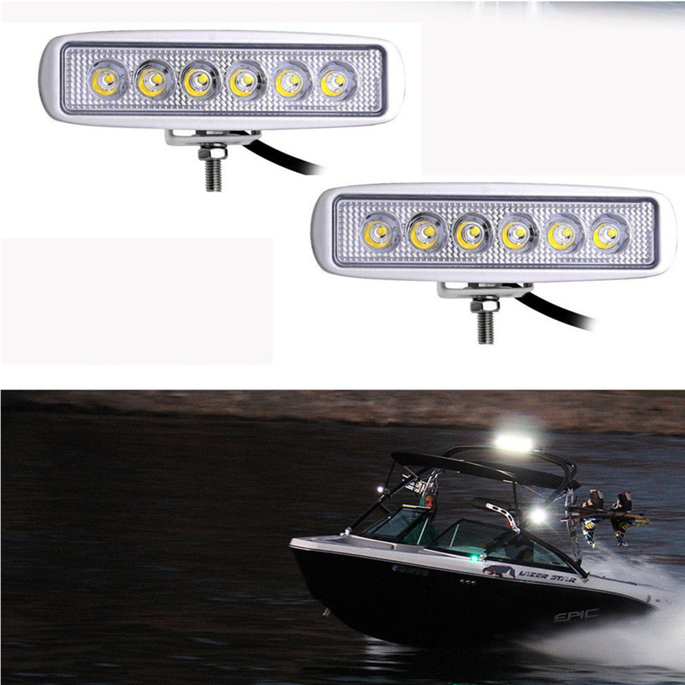 12 Volt Marine Lights: White Spreader LED Deck/Marine Lights (Set Of 2) For Boat