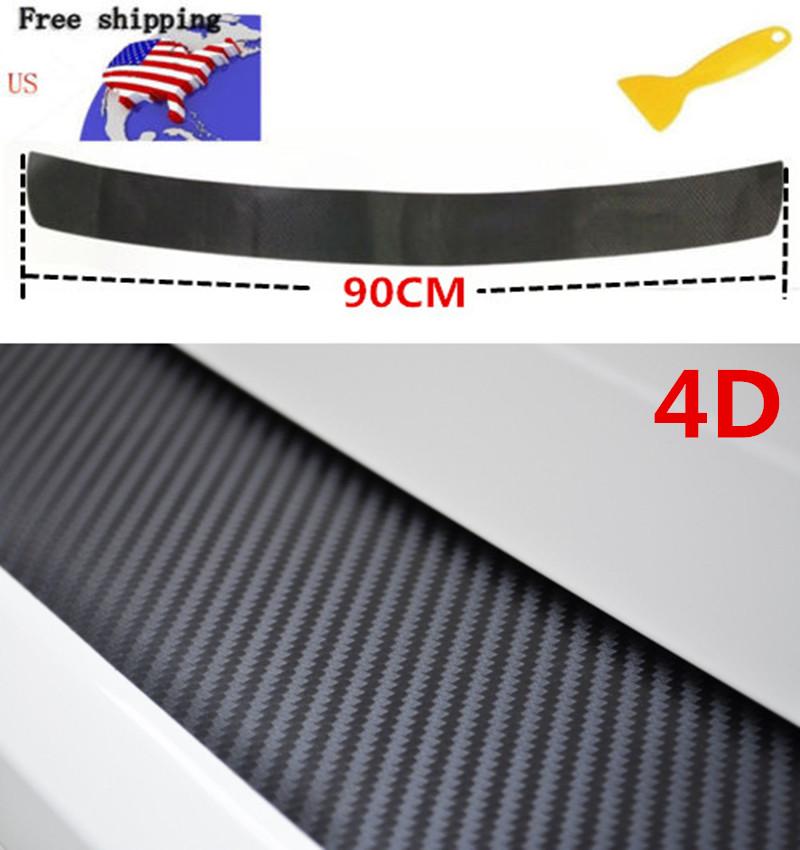 Car Carbon Fiber Rear Guard Bumper 4D Sticker Protector Trim Cover Accessories
