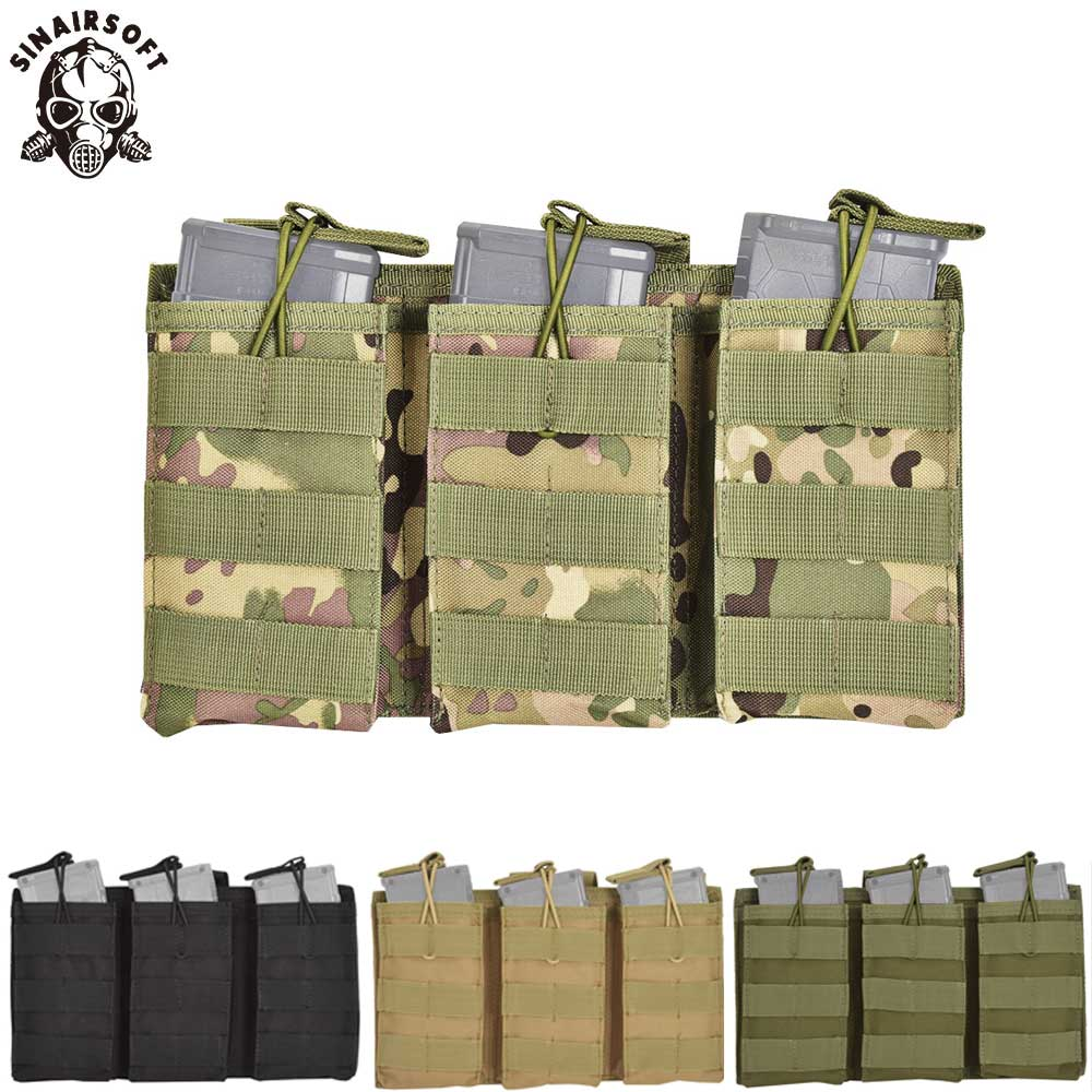 Tactical Molle Triple Magazine Pouch Open Top 5.56 .223 Mag Bag Pack Tri Holster