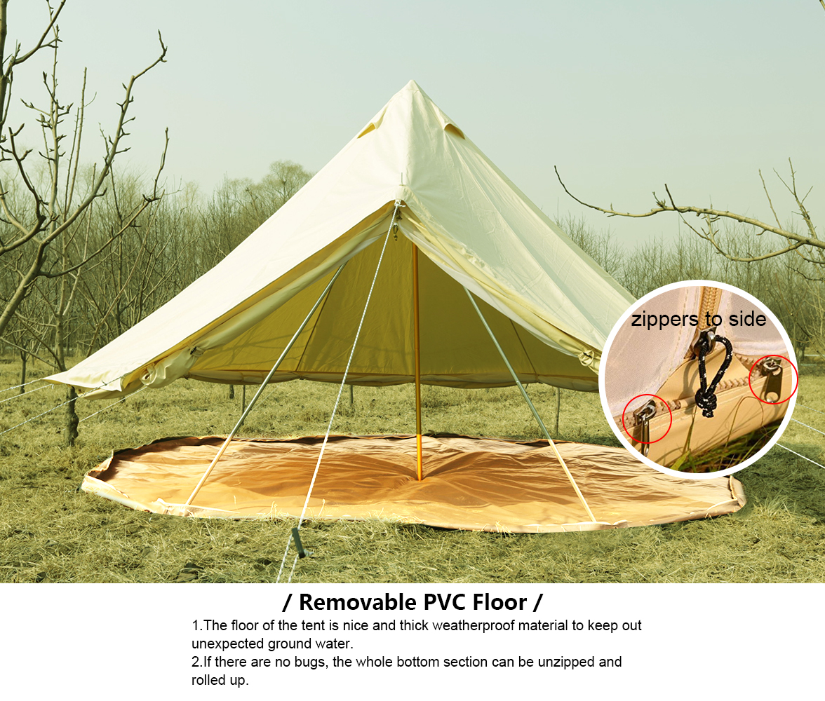 4M Bell Tent Canvas Tent Cl&ing Tent Yurt Mesh Heavy . & bell tent center pole candelabra - Ecosia