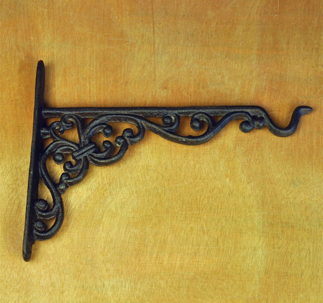 Uni Cast Iron Garden Hanging Basket Hook Bracket Planter Wall Ornate ...