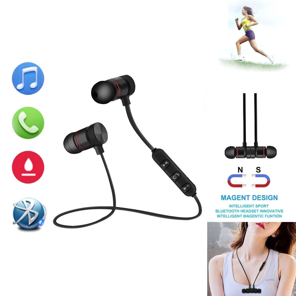 Bluetooth 4 1 Stereo Earphone Headset Wireless Magnetic In