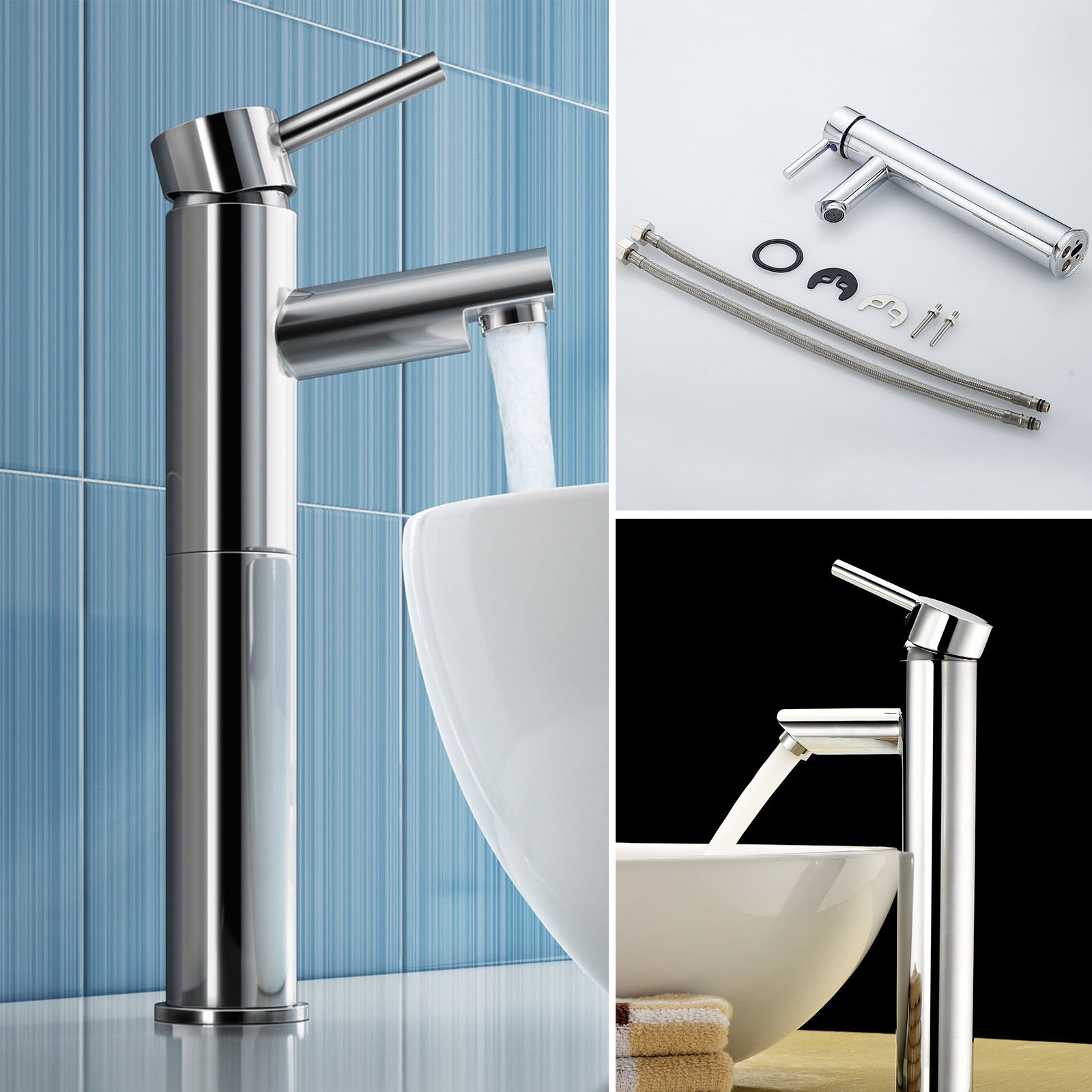 Brushed Chrome Waterfall Bathroom Basin Faucet Single Handle Sink ...