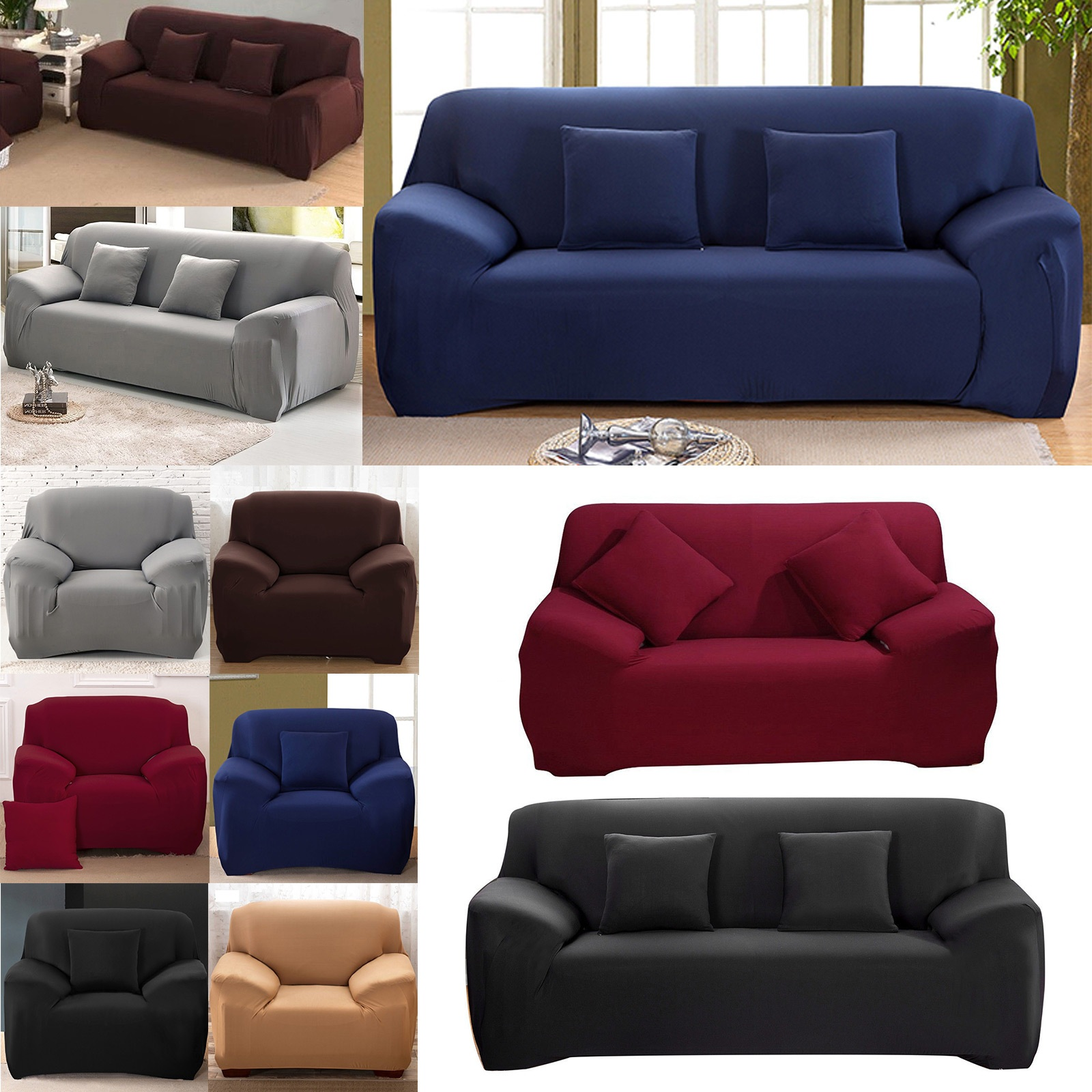 1 2 3 seater easy sofa soft couch slipcover stretch covers elastic fit protector ebay. Black Bedroom Furniture Sets. Home Design Ideas
