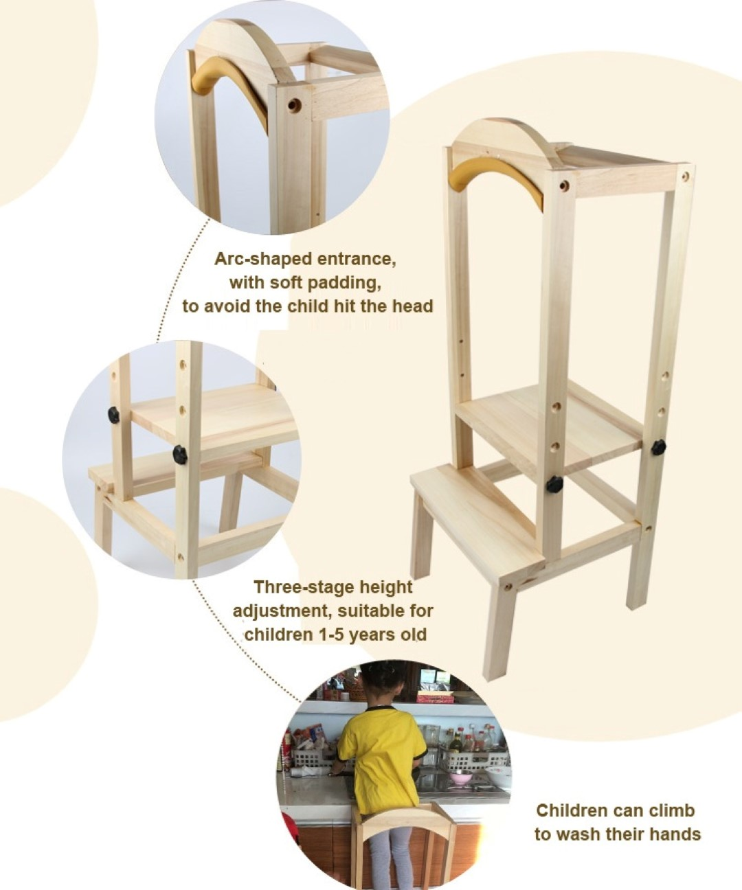 KIDS Children Wooden Kitchen Helper Learning Stool Chair DIY Fences ...