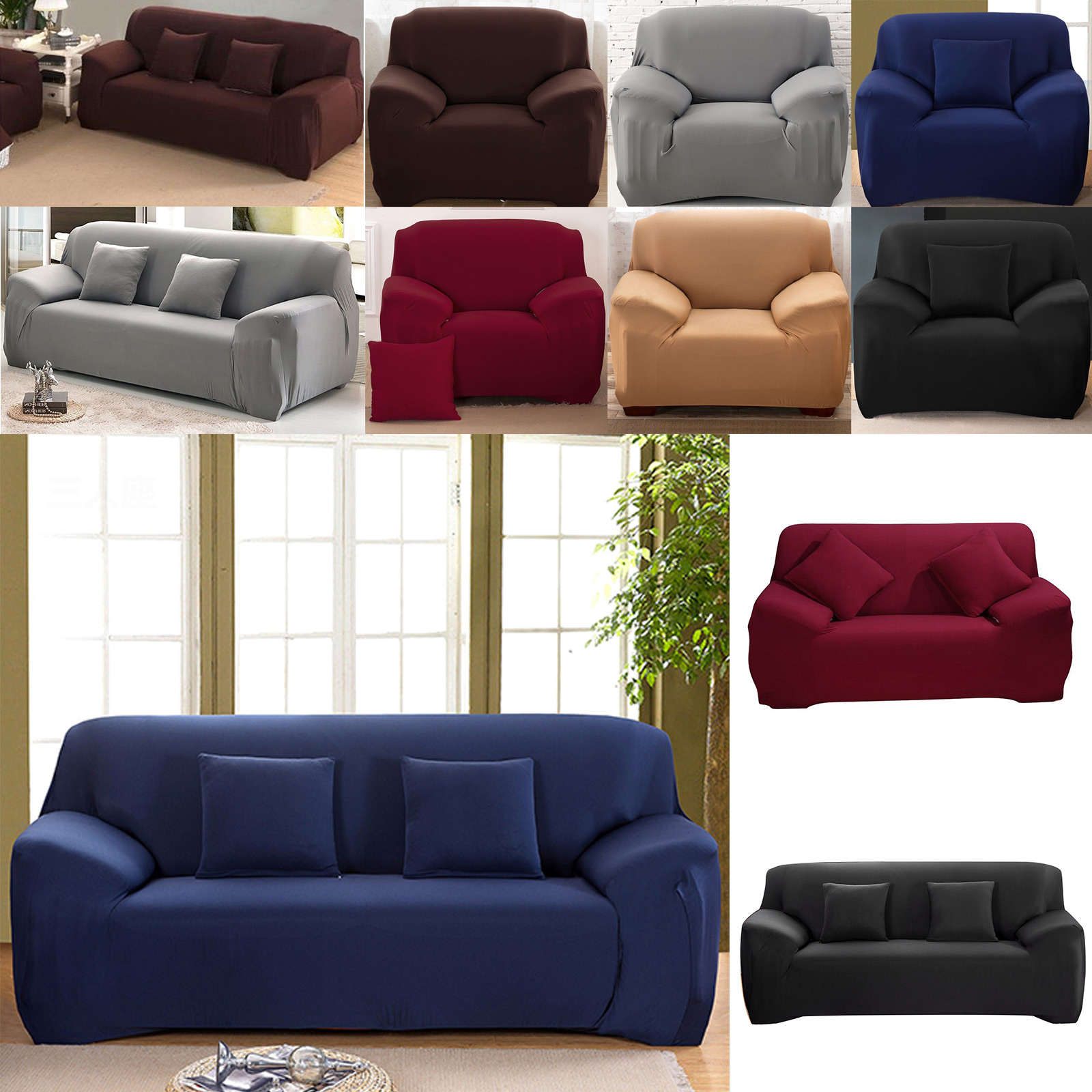 1 2 3 Sofa Covers Couch Slipcover Stretch Elastic Fabric