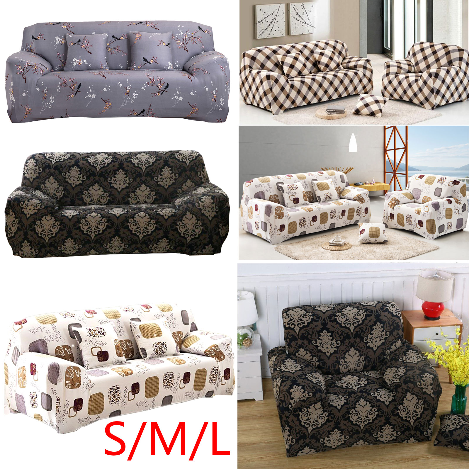 Details about 1 2 3 Seater Floral Elastic Soft Sofa Couch Covers Stretch  Slipcover Protector f54b5740d