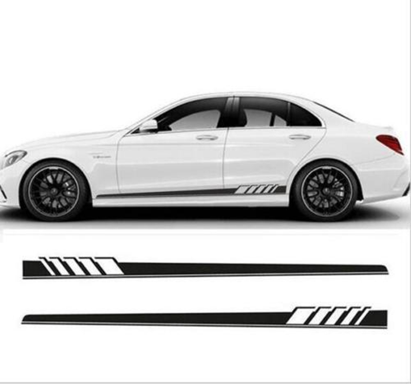 Pair Racing Car Graphics Long Stripe Decals White Both Side Vinyl Decal Sticker