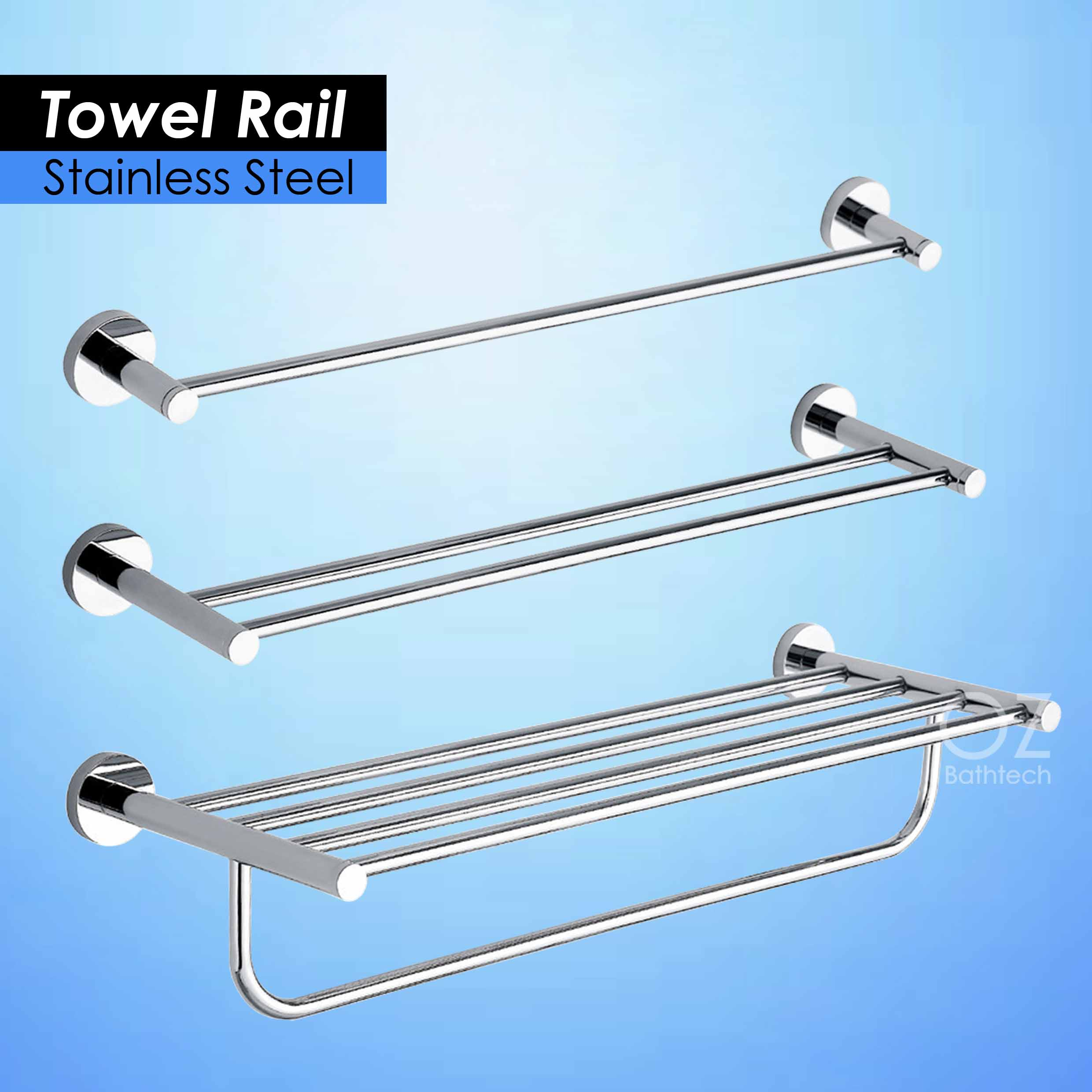 700mm Round Towel Rack Rails Bar Bathroom Shelf Holder Stainless ...