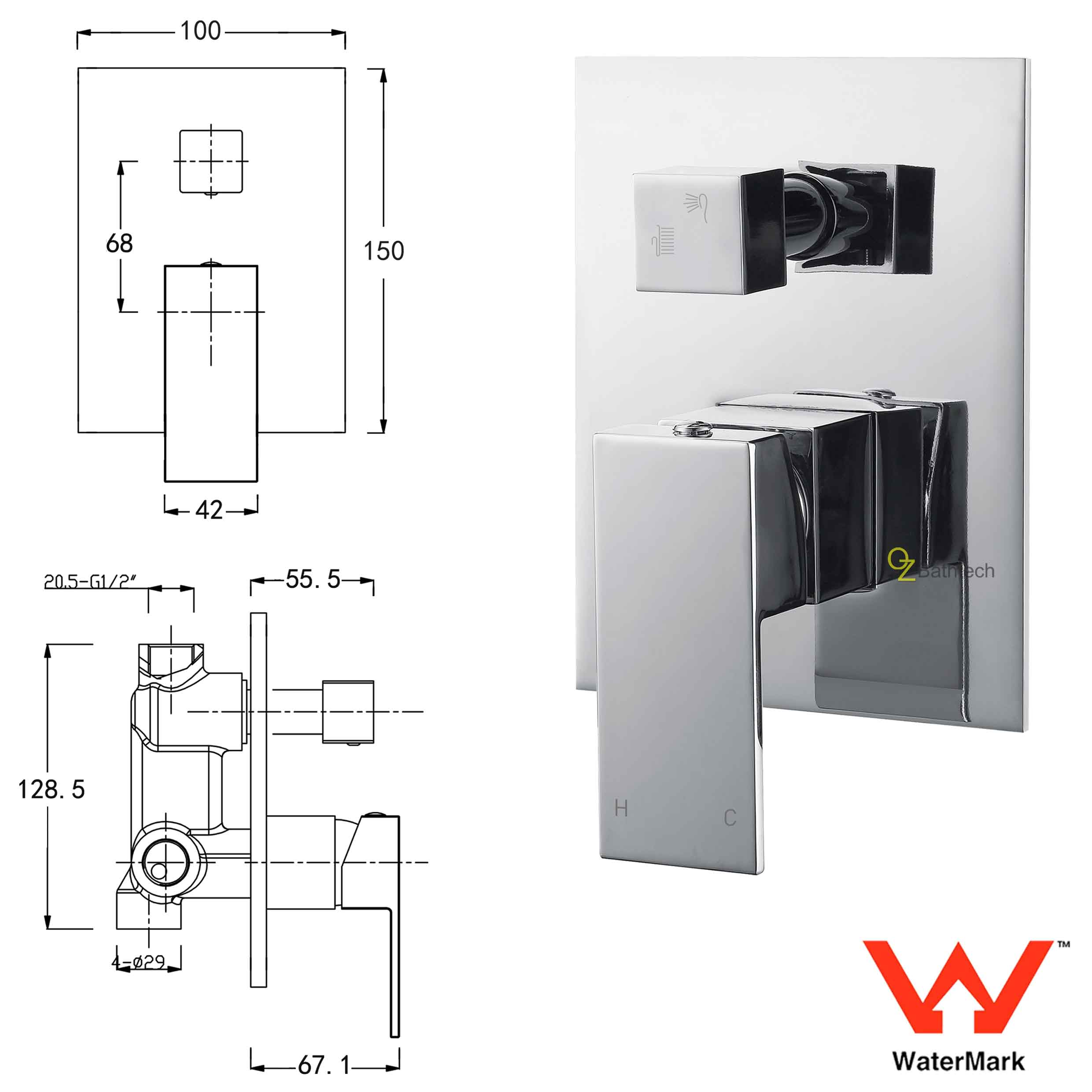 Wall Square Shower Mixer 2 Way Bath Control Diverter On Off Valve Schematic Watermark Brass Tap Spout