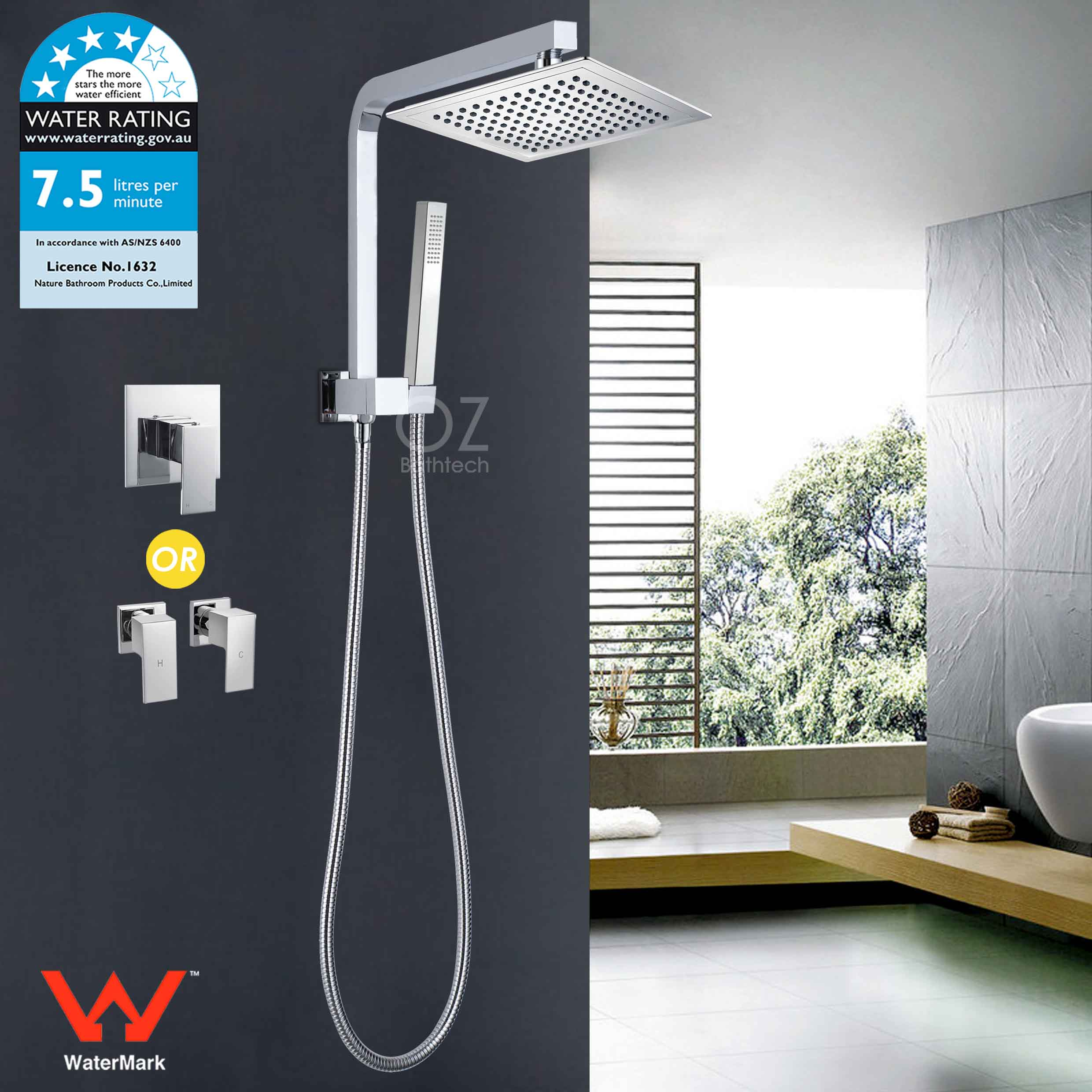 WELS 2 In 1 Square Shower Head Handheld Spray Diverter Wall Arm ...