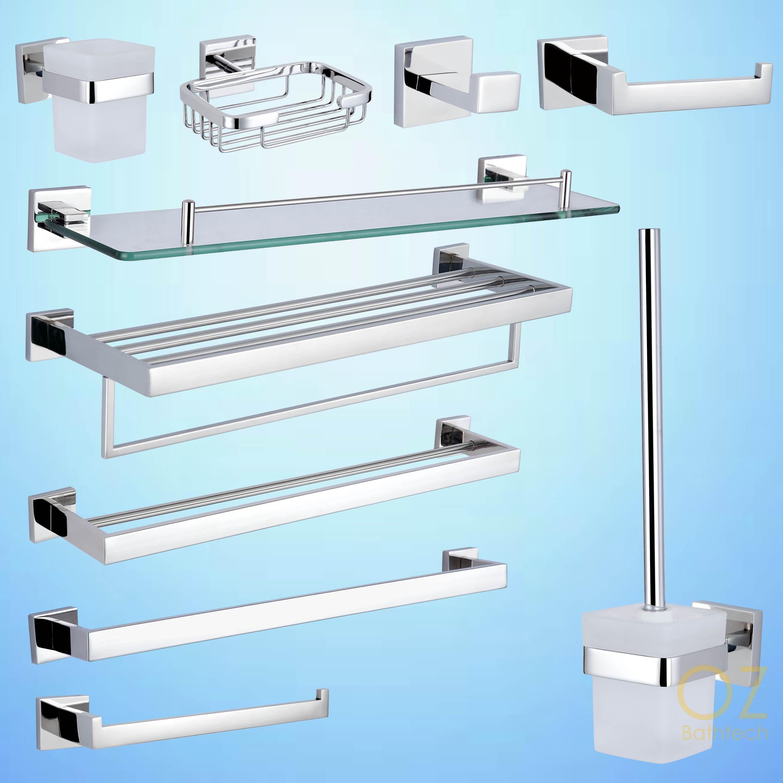 Bathroom Accessories Towel Rail Rack Shelf Toilet Brush Tissue Roll ...