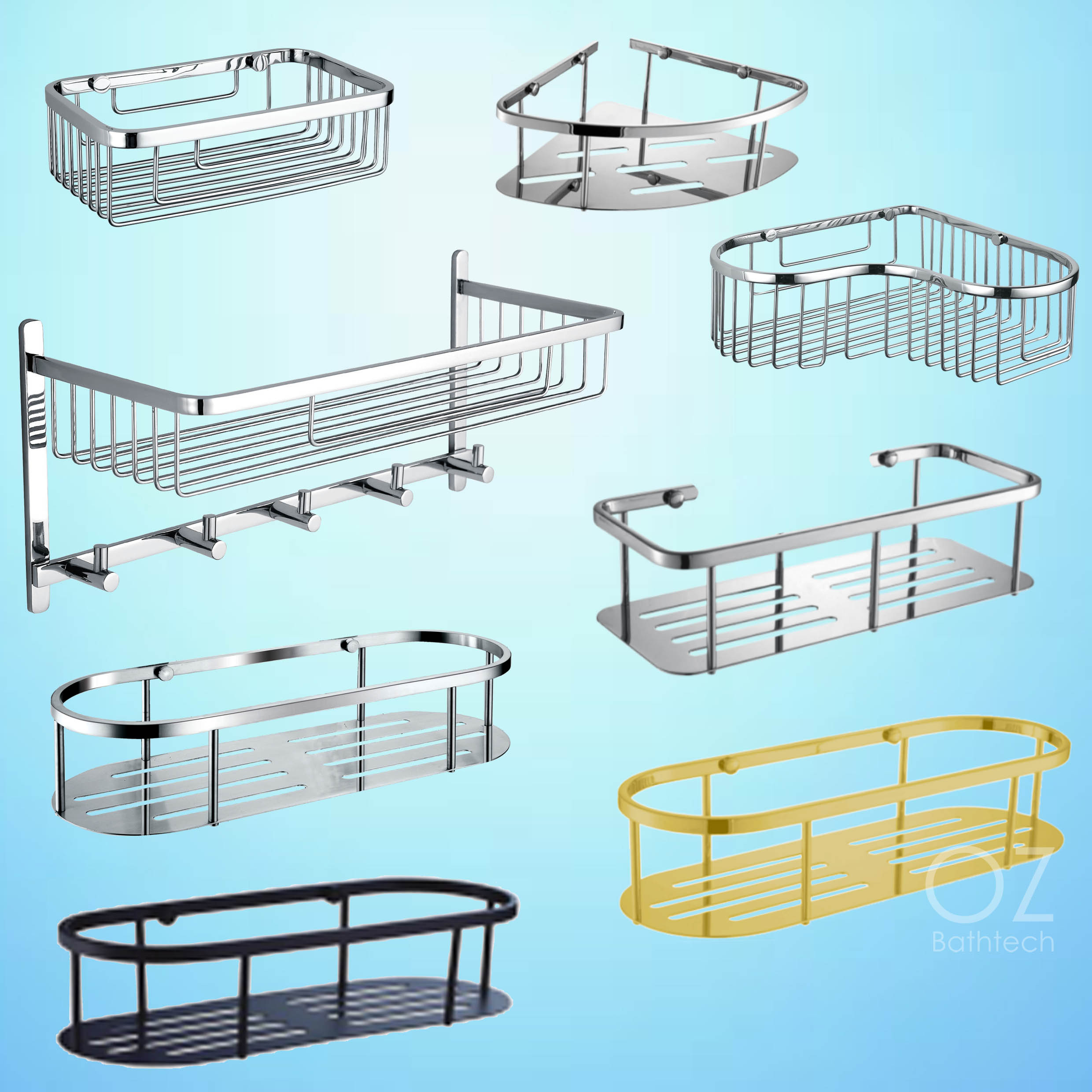 Bathroom Accessories Shower Caddy Corner Wire Basket Storage Shelf ...