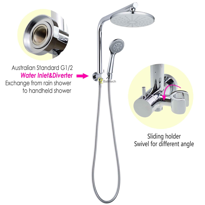 WELS 2IN1 Rain Shower Head Handheld Gooseneck Wall Arm Diverter