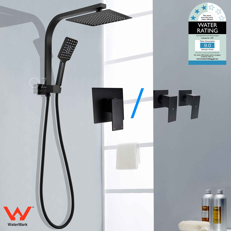 "WELS Black 8"" Square Rain Handheld Shower Head Diverter Arm bo"