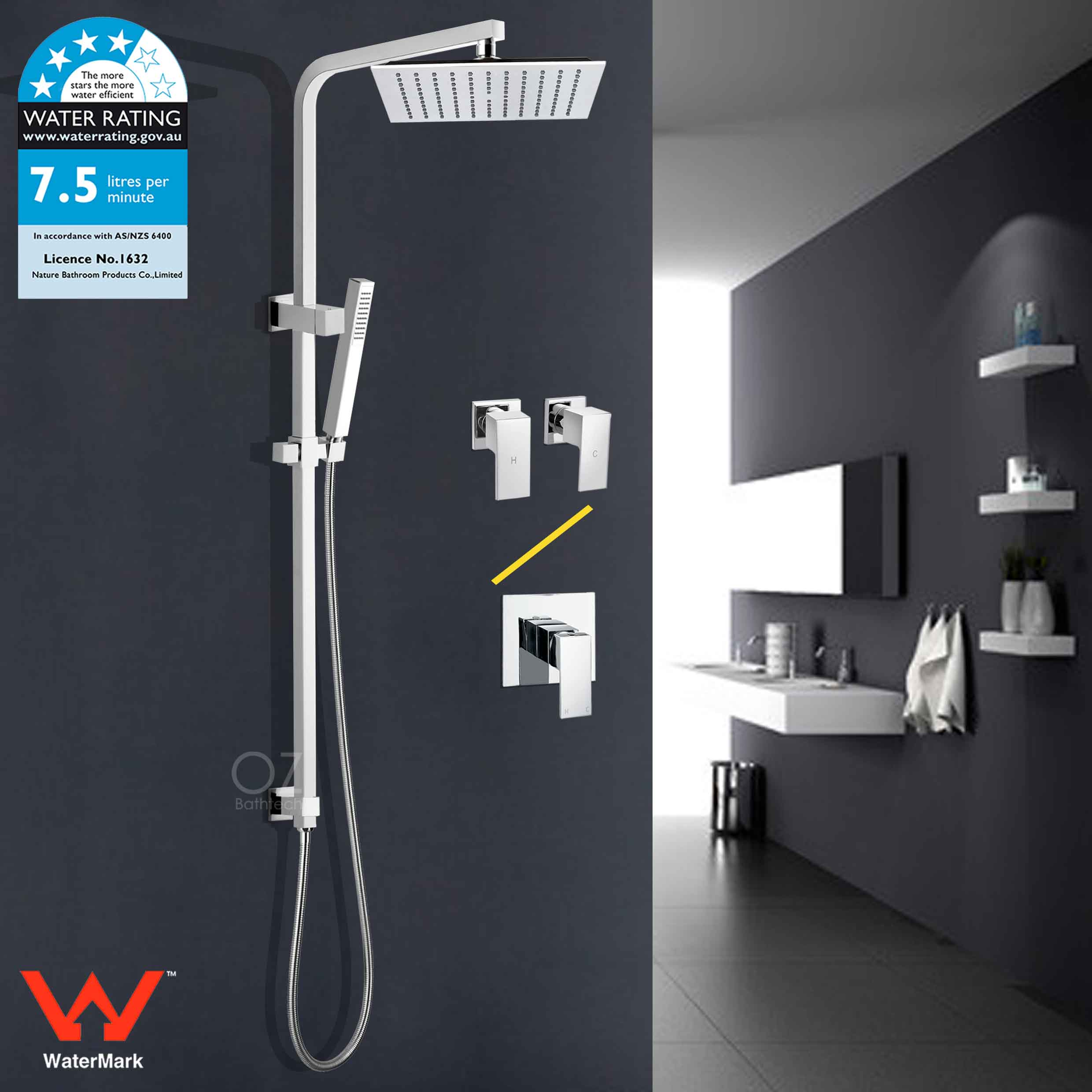 Details About Wels Square 10 Rain Shower Head Handheld Bracket Rail Arm Combo Set Mixer Tap