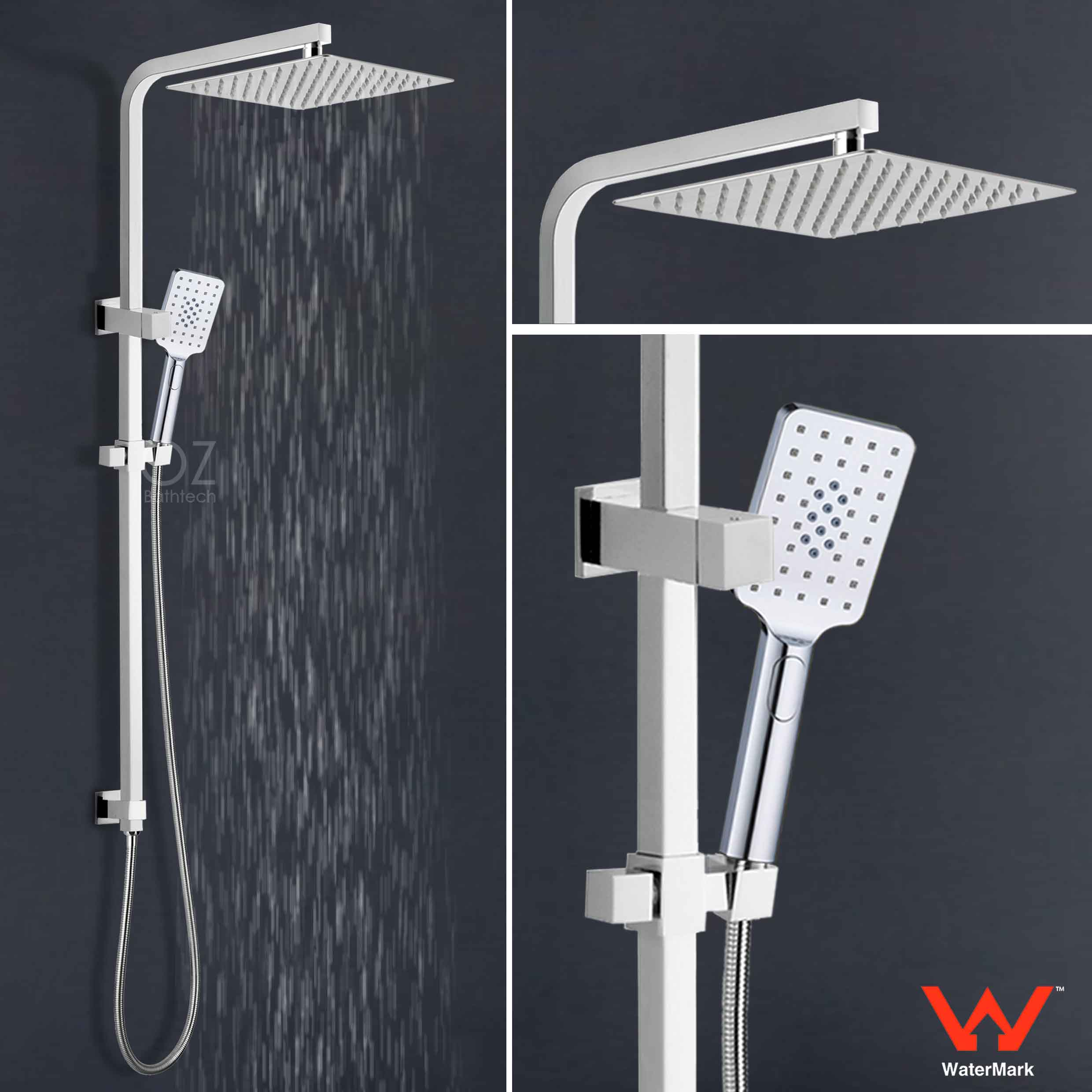 Details About 12 Inch Square Slim Rain Shower Head 3 Jet Hand Held Diverter Rail Mixer Valve