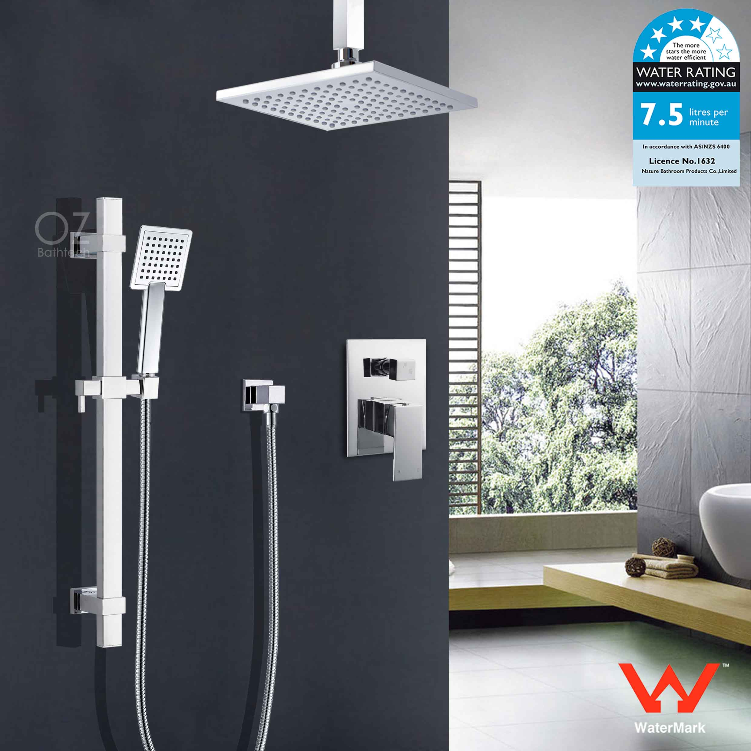 Home Garden 8 200mm Square Chrome Rain Shower Set W