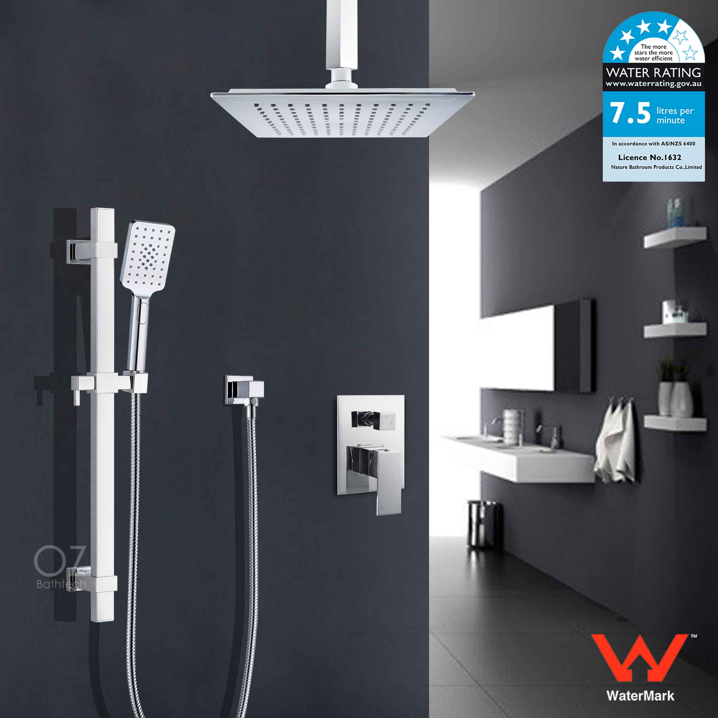 Details About 9 Rain Shower Head Ceiling Arm Extension Handheld Rail Diverter Mixer Tap Set