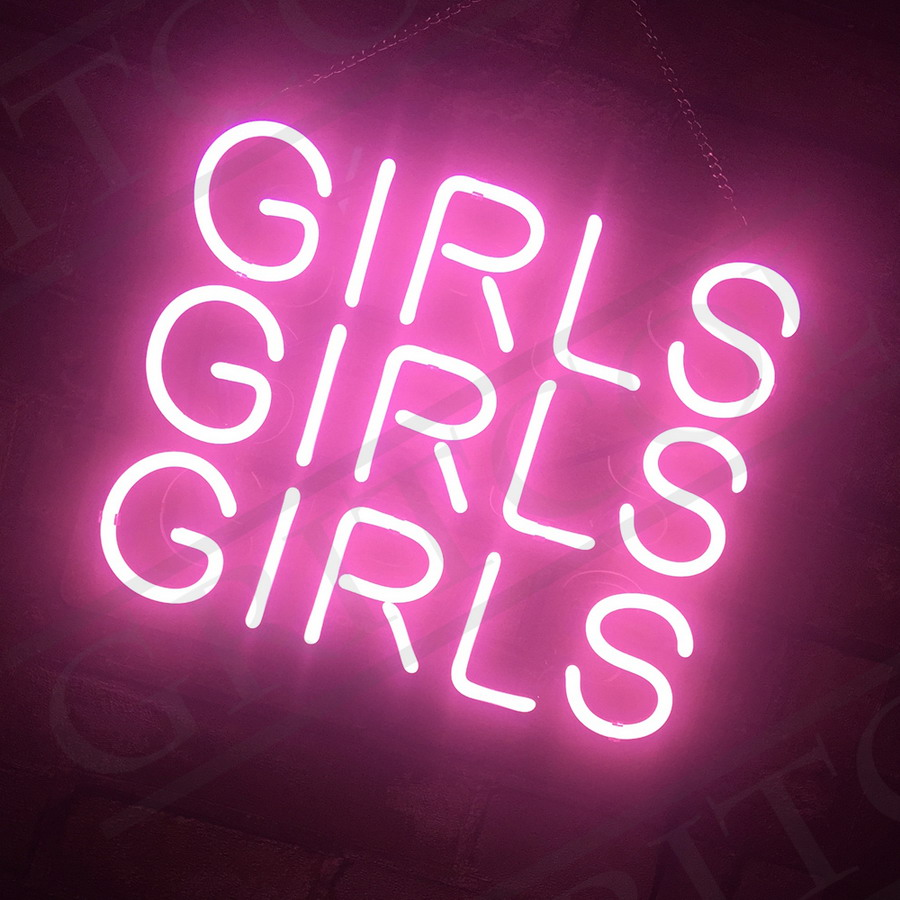 girls girls girls hand craft pink neon sign light boutique bar floor decor ebay. Black Bedroom Furniture Sets. Home Design Ideas