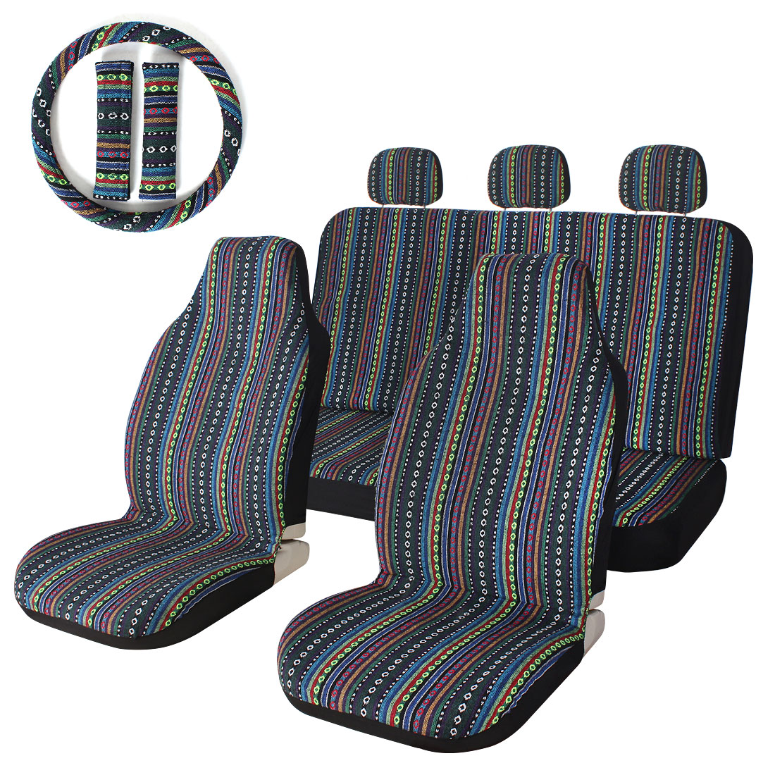 This Car Seat Covers Set Has An Ethnic Style And A Fresh Feel Copap Universal Bucket Feature Fun Southwest Inspired Design Updated