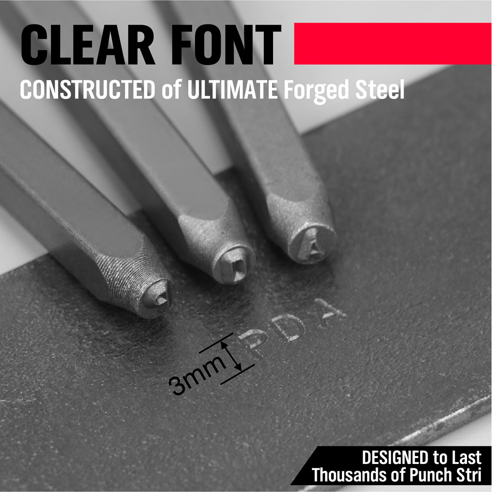 """37 PC 1//8/"""" Acier Métal Punch Lettre /& Numéro Timbre Stamping Set Kit avec étui"""