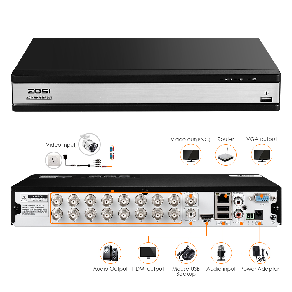 Details about ZOSI 16 Channel DVR 1080p HD with Hard Drive 2TB for CCTV  Camera Security System