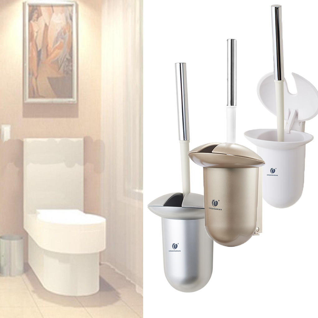 ABS Bathroom Toilet Brush Closet Bowl Cleaning Holder Set ...