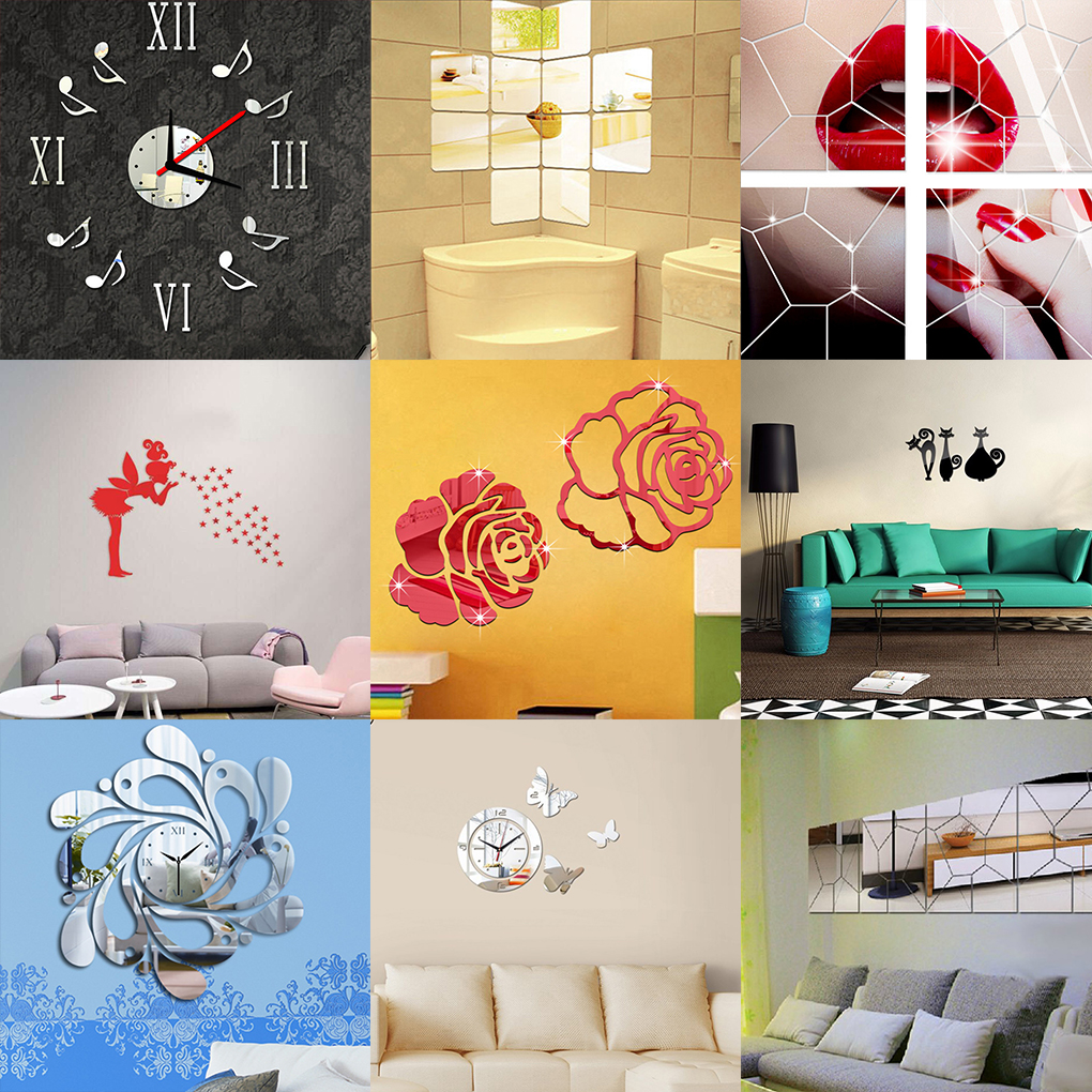 Self-adhesive Mirror Tile 3D Wall Sticker Mosaic Home Room Decor ...