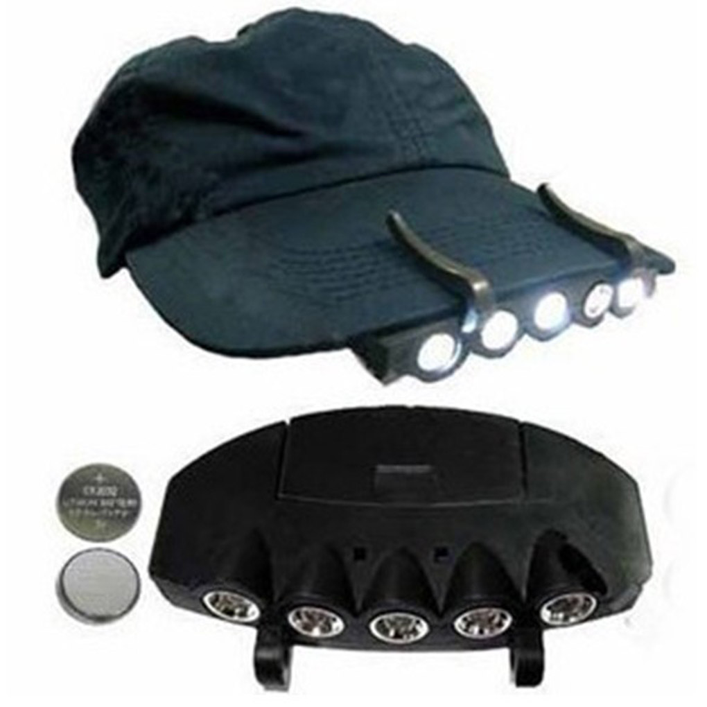 f0befdb4b5b 2X 5LED Cap Hat Brim Clip Lamp Head Light Headlight Headlamp Camping  Fishing US
