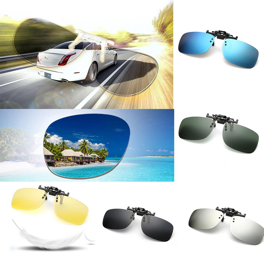 Men Fashion Driving Square Polarized Clip-On Flip Up Metal Clip Sunglasses