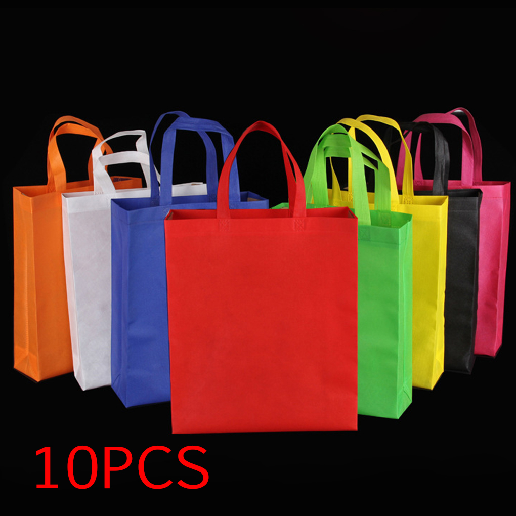 4f9d06405e9 Details about 10X Reusable Shopping Bags Tote Bag Green Grocery Eco  Friendly Non Woven Folding