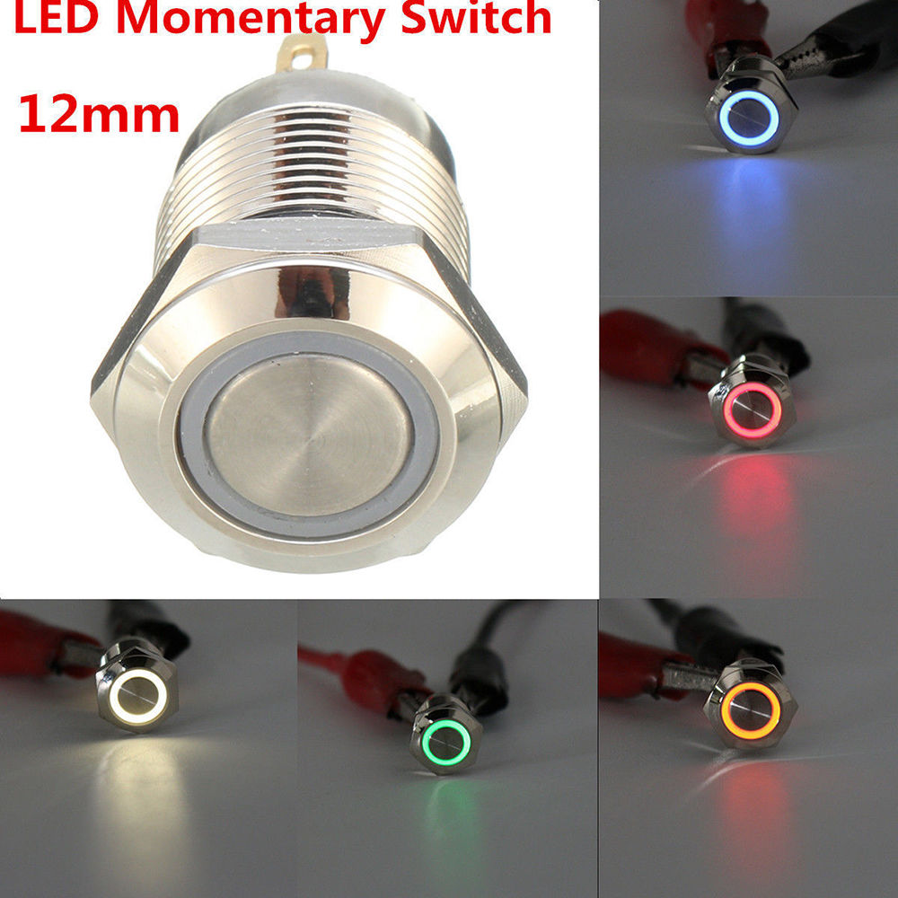 12v chrome 4 pin 12mm led light metal push button momentary switchdetails about 12v chrome 4 pin 12mm led light metal push button momentary switch waterproof