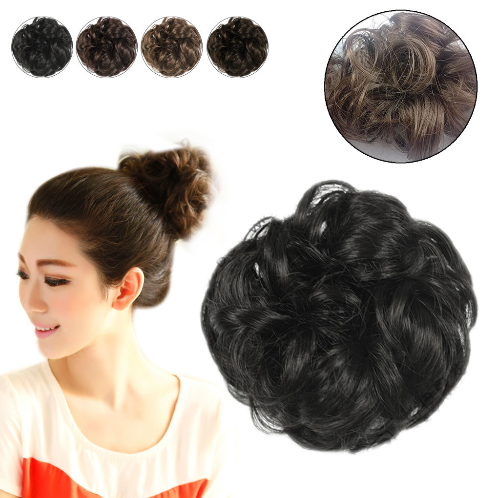 Hair Extensions Wavy Curly Synthetic Hair Bun Wig Hairpiece Clip In