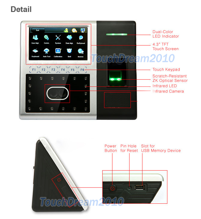 Full Face Recognition Access Control System Door Bell